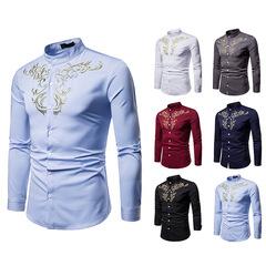 Fashion Floral Printed Long Sleeves Shirt Men Casual Shirts Men Dress Wedding Clothes Evening Suit Light Blue xl (58kg-65kg)