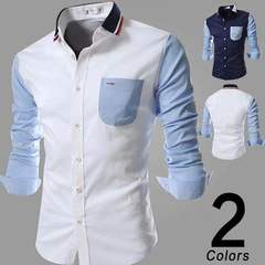 Sping New Knit Collar Colorblock Design Mens Dress Slim Fashion Long Sleeve Shirt  Casual Men shirts White s (45kg-50kg)