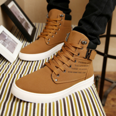 Men Boots Fashion Warm Winter Men shoes Autumn Leather Footwear For Man New High Top Canvas Casual yellow 39