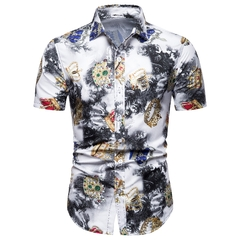 Free shiping 2019 New Mens Casual Fashion Silm Short-Sleeved Shirt Plus Fat Fertillzer Plus Size Rope m (50kg-58kg)