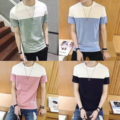 4 colour Summer New Mens Short-sleeved T-shirt Summer Round Neck Youth Colour -fitting half-sleeved Blue 4xl  (88kg-100kg) cotton