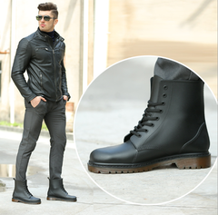 Leather Ankle Boots Men's Boots  Fashion Motorcycle Boots Outdoor Working Boots Men Shoes Oxford Bottom 39