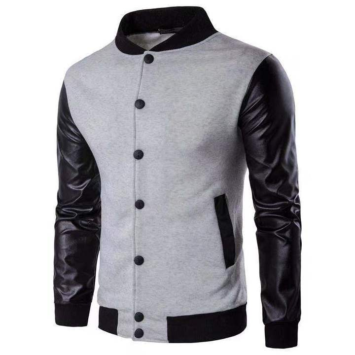 Men Fashion Jacket Coat PU Leather Casual Baseball Sportswear Outdoor Suit Man Clothes Plus Size White xl (65kg-72kg)