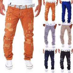Men's casual trousers double waist hole frock thin breathable sports fitness tight loose camouflage Orange 4xl ( see size table deatil)