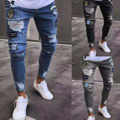 Men Hole Denim Pants Hip Hop Street Style Jeans Denim Trousers Tide Badge Jeans Trend Knee Zipper Gray 3xl ( see size table deatil)