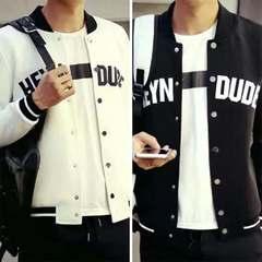 New Dress Men thin jacket Coat Fashion Hoodies Casual baseball uniform student youth Korean version Black s (45kg-50kg)