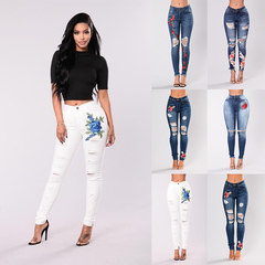 Fashion hot sale high waist hips women's jeans long women pants Embroidery sexy Jeans women Trousers white-blue rose s (see product  detail table)