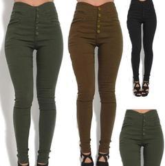 Women Fashion Super Elastic Pencil women Pants Retro Fashion High-waist Slim Straight women Trouser black m (see product  detail table)