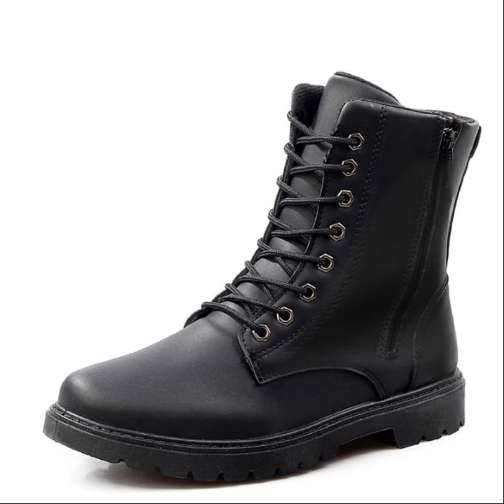Men Shoes Leather Ankle Martens Boots for Casual Dr. Motorcycle Shoes Warm Winter Men Boots Work black 39
