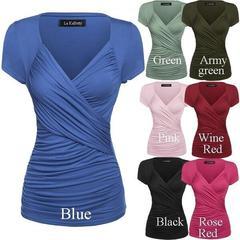 Women Fashion Casual Front Crisscross Deep V Neck Short Sleeve women T-shirts Sexy women Tops Blouse blue s ( product detail table)