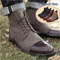 British Leather Men's Shoes Retro Chelsea Style Martin leyo Men's Boots Fashion Brand Grey 39