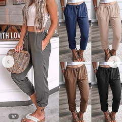 2019 Fashion New Women's Trousers Cotton Linen Cropped women Pants Hip Hop Loose ladies Pants black s (see product  detail table)