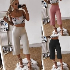 Summer Fashion Casual Wide Leg Capri Pants Solid Color Loose High Waist women Pants women Trousers white s (see product  detail table)