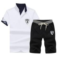 Fashion 2 Piece Set Men's Short Sleeve Shorts New men's Casual Suit Short Pants tshirt Trousers White 1 M  (50KG-58KG) 100%cotton