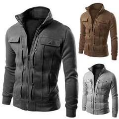 Men Causal Jackets Mens Stand Collar Fashion Bomber Jacket For Men Coat Male denim Deep Gray m (50kg-58kg)