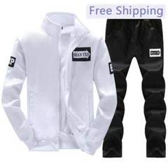 New Mens sports leisure trousers suit stand collar solid long sleeved jacket sweater Coat cardigan white s (45kg-50kg)