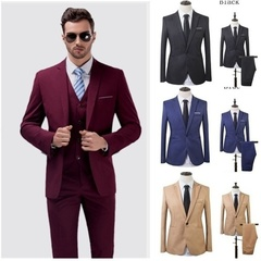 Mens Business Leisure Suit Two-piece (coat + Pants) Wedding 8 Colors Formal Party Classic Jacket Wine Red M (50KG-58KG)
