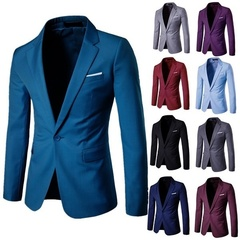Business and Leisure Suit Lang Groomsman Wedding A Grain of Buckle Men's  Coat Jacket Clothing Blue s (45kg-50kg)