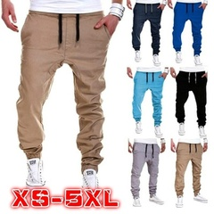 Plus Size Men's Casual Pant Sport Joggers Hip Hop Jogging Fitness Pant Trousers Sweatpants S-5XL khaki s ( see size table deatil) 28-30