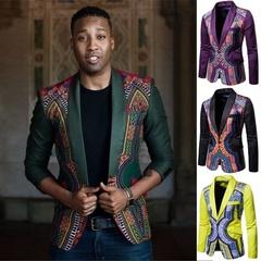 Jacket Coat High-end Fashion Luxury Men's Golden Floral Blazers Business Casual Suit Wedding Dress Green s (45kg-50kg)