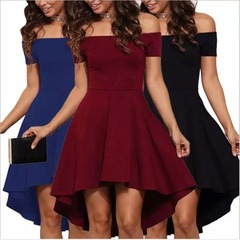 Free shipping New Women Off Shoulder Party women Dresses Casual Elegant Vintage Midi ladies Dress 5xl( product detail table) black