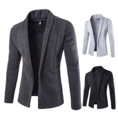 Fashion Casual Cardigan Sweater Coat Slim Men's V-neck Sweater Suit Jacket   Clothing Normal Fit Deep Gray s (45kg-50kg)