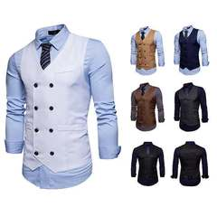 Men's Fashion Sleevele Suit Vests Male Formal Business Slim  Casual Outwear Wedding Tops No Shirts White s (45kg-50kg)