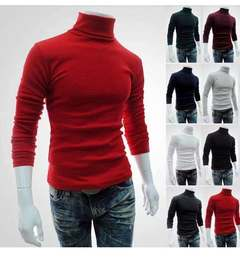 2020 new high necked mens sleeves long bottoming knitwear jacket causal sweater coat pure cotton Red s (45kg-50kg)