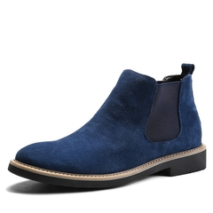 British Leather Men's Shoes Retro Chelsea Style Martin leyo Men's Boots Fashion Brand Blue 38