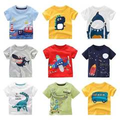 Boys Girls Cartoon T-shirts Kids Dinosaur Print Dresses Baby Childrren Shorts Sleeve Cotton tops Shop 80cm 18month-2 year cotton