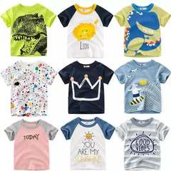 Kids Boys T-shirt Crown Print Short Sleeve Baby Girls Cotton Children O-neck Tee Tops Clothes Dinosaur 80cm 18month-2 year cotton