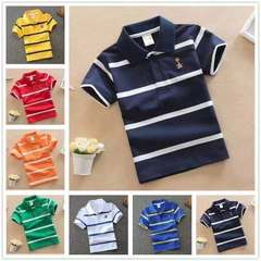 Baby Boys Kid Tops T-shirt Short SLeeve Striped Polo Tee Lapel Costume  Cotton Girl Clothing Clothes Deep Blue 80cm 18month-2 year cotton