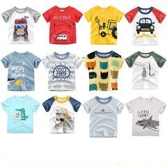 Summer Baby Boys T shirts Caetoon Print Cotton Tops Tees dor Girl Children Out wear Clothes Clothing Truck 80cm 18month-2 year cotton