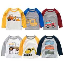Kids Boys T-shirts Baby Long Sleeve Tops Children Solid Cotton Sweater 6 Years Girl Clothes Clothing A bull dozer 80cm 18month-2 year cotton