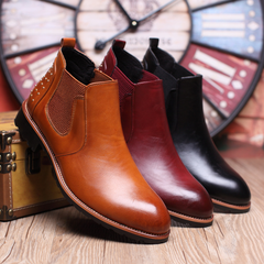 Men boots Shoes Trend Leisure Leather Shoes Breathable For Male Footwear Loafers black 37