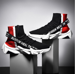 Men Sneakers Breathable Casual No-slip Men Shoes Male  Lace up Wear-resistant Shoes Boots black 39