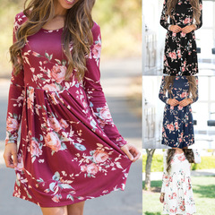 2019 Women Dress Style Floral Print Chiffon Beach Dress Tunic Sundress Loose Mini Party ladies Dress 2xl( product detail table) black