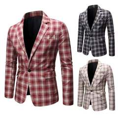 High Quality Men Blazer Fashion Plus Size Casual Plaid  Jacket Long Sleeve Business Suit Coats Red s (45kg-50kg)