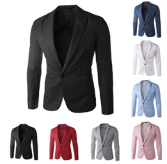 8 Colour !!! Men's Clothing Blazer Button Slim Fit Costume Homme Suit Jacket Masculine Coat Causal Black m (50kg-58kg)