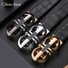 Men's belt leather automatic buckle business belt crocodile pattern leather formal suit Golden C1 115cm