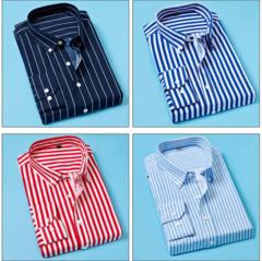 Spring new men's Shirt Korean youth comfortable simple striped long-sleeved printed dress slim Black xl  (65kg-72kg)