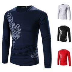 Men's Fashion Casual Turtleneck Sweater sleeves long bottoming knitwear jacket causal coat cotton Navy Blue l (58kg-65kg)