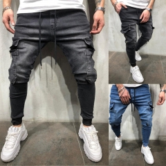 Trousers Fashion Stretch Casual Men Jeans Men Straight Mens Denim Jeans / Male Stretch Trouser Pants Blue 3xl ( see size table deatil)36-38