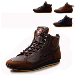 New 2019 Men Leather Boots Fashion Brand Ankle Boots Lace Up Men Shoes Footwear Casual Drop brown 39
