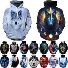 16 Styles Fashion Men Women 3D Print Wolf Loose Couples Hoodies Casual Hip Hop Streetwear Sweatshirt 1 m  (50kg-58kg)
