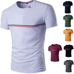 The new men's fashion casual stripes t-shirt stitching slim T-shirt short sleeved white xxxl  (80kg-88kg) 100%cotton