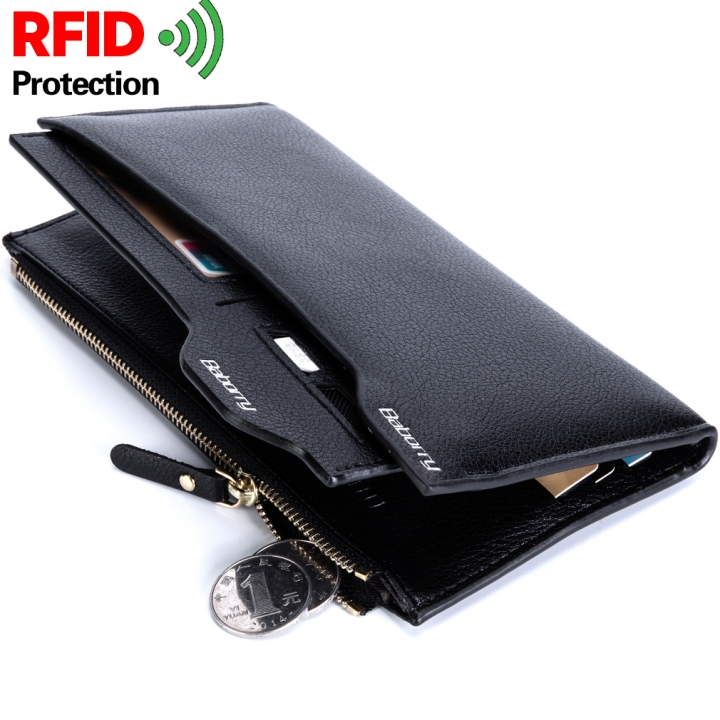 New fashion antimagnetic new men's long wallet card package black normal
