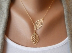 New fashion lady double Leaf Pendant Necklace gold normal