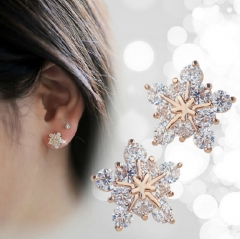 Korean fashion, bright five pointed star stud, drill, snowflake Earring gold normal
