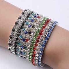 New fashion, bright, white, single row, elastic lady's bracelet. white+multiple random colors 5 pcs white + 5 pcs multiple random colors